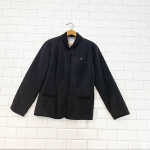 Lacoste Black Snap Up Quilted Jacket Black size 46